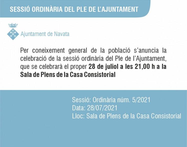 28 de juliol Ple 5/21 Ajuntament de Navata