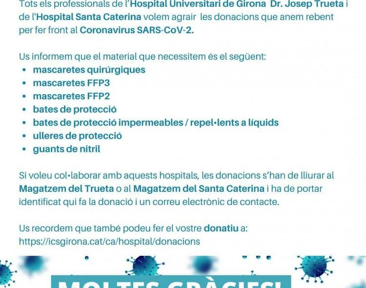 Donacions al Trueta i al Santa Caterina