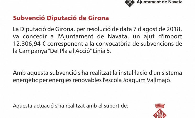 Subvenció Diputació de Girona